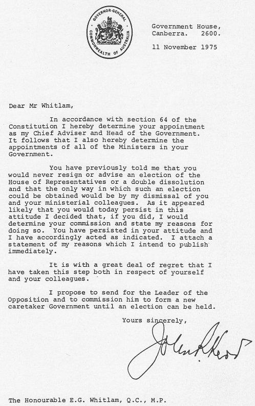 Kerr's Letter of Dismissal, 11-11-75